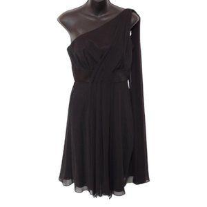 WHBM 1 Shoulder Black Chiffon Dress NWT- Sz. 2
